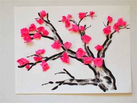 And Craft With Tissue Paper - cherry blossom tissue paper flower craft tree printable