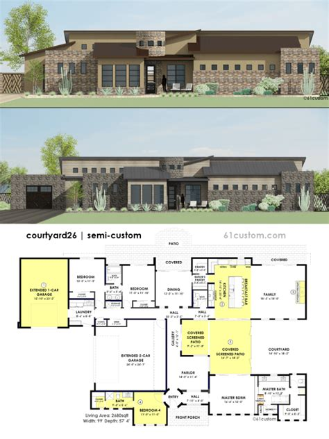 floor plans for contemporary homes contemporary side courtyard house plan 61custom