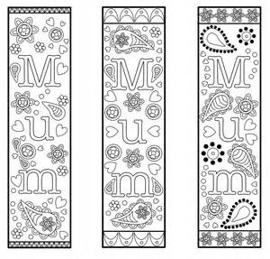 free printable bookmark template mothers mum colouring gifts craft