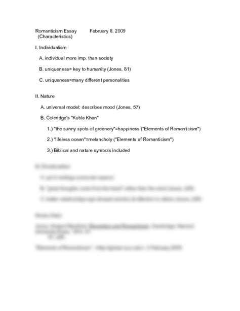 Romanticism Essay by Romanticism Essay Outline 210 With Dr Statlander At Barry Studyblue