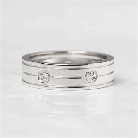 gucci white gold logo ring for sale at 1stdibs
