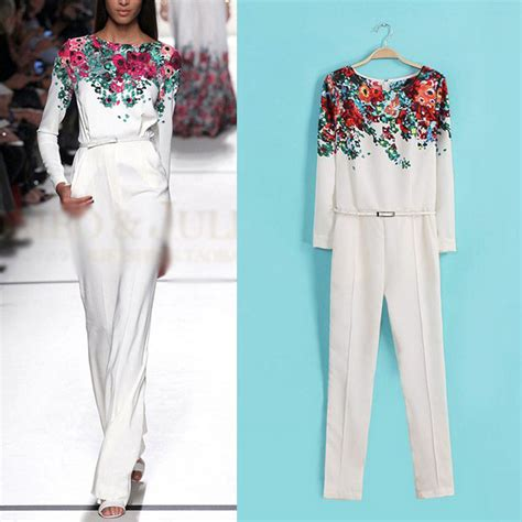 floral pattern jumpsuits new vintage women white round neck long sleeve floral