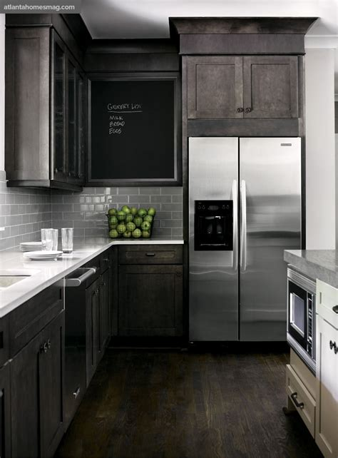 Dark Rustic Wood Through The Front Door Grey Modern Kitchen Cabinets