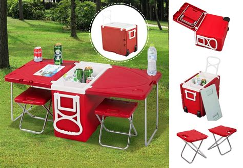 family dollar folding table multi function rolling cooler with table and 2 chairs