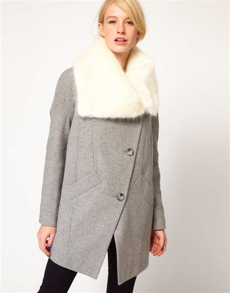 asos faux fur collar oversized coat in gray lyst