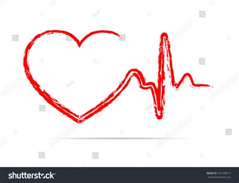 flat design icon heart red heart icon sign heartbeat vector stock vector
