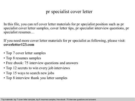 Pr Specialist Cover Letter pr specialist cover letter