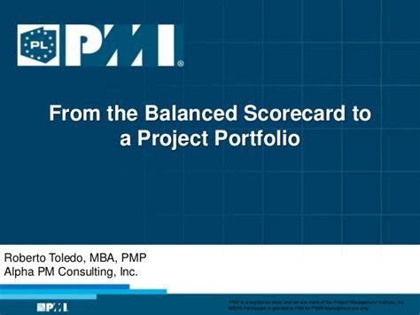 Mba Consulting Services Inc by From Balanced Scorecard To Project Portfolio Management