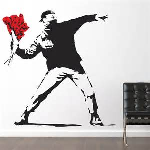 Banksy Wall Sticker Banksy Flower Thrower Wall Stickers By The Binary Box