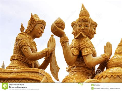 candele scolpite festival ubon ratchathani della candela fotografia stock