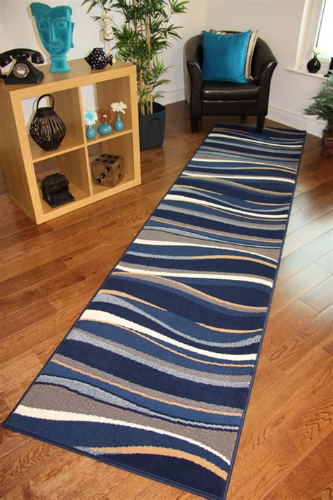 new funky narrow rug cheap blue beige navy waves