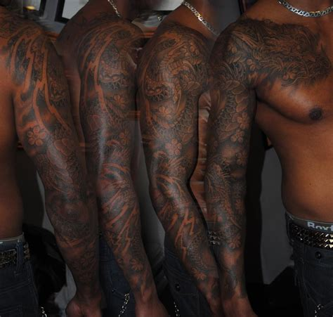 black people tattoos black sleeve design pictures