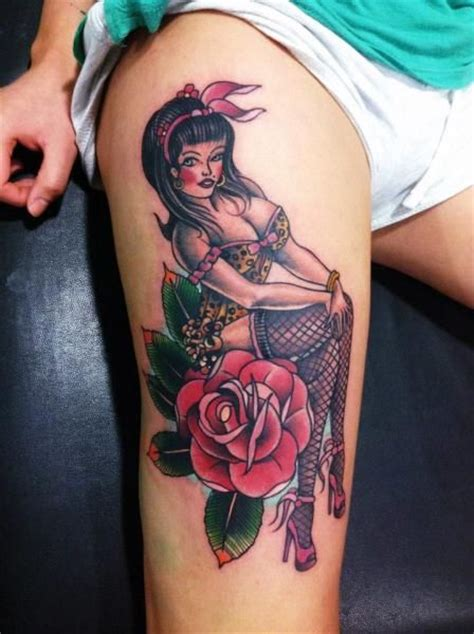 old school pinup tattoo old school pinup on red rose tattoo on thigh pinup