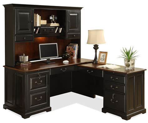 black and white computer desk l shape computer workstation desk with hutch by riverside