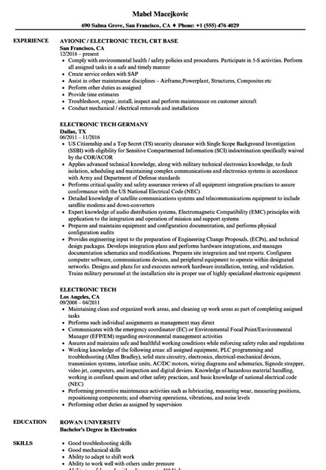 electronic tech resume sles velvet