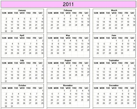 Calendar For 2011 Yearly 2011 Printable Calendar Large Color Week Starts On