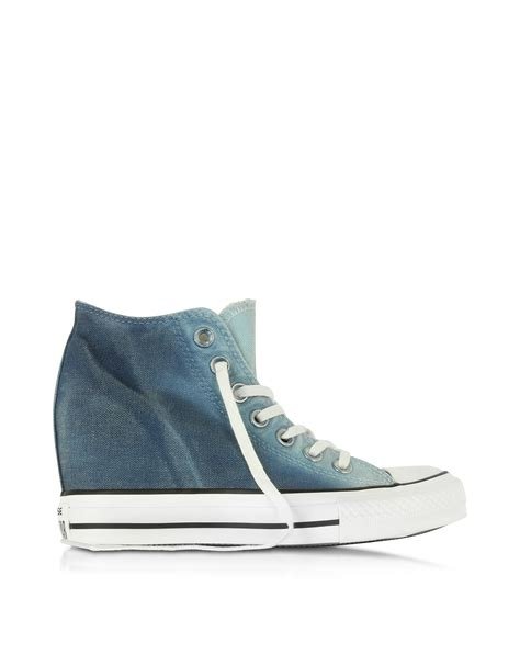 Sporty Wedges Wedges 7cm lyst converse ctas mid ambient blue wedge sneaker in