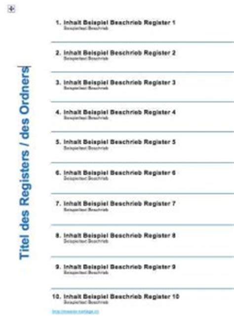 Word Vorlage Register 12 Ordnerregister Vorlage Muster Und Vorlagen Kostenlos