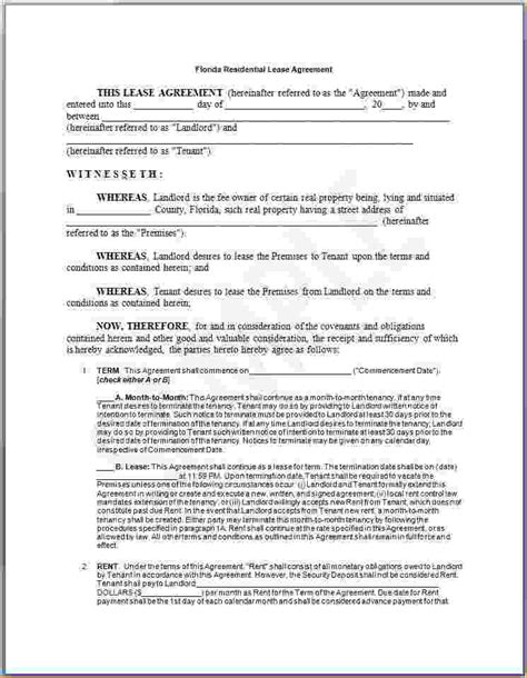 lease agreement florida template rental agreements free florida residential lease agreement