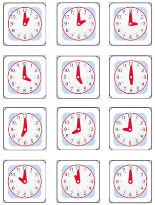 free printable clock games telling time memory game printable printable treats com
