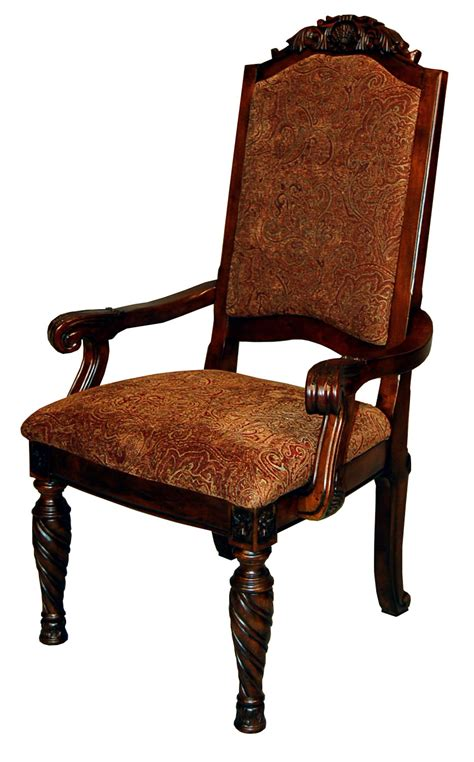 Upholstered Dining Arm Chairs Pair Of Ornate Brown Mahogany Upholstered Back Dining Arm Chairs