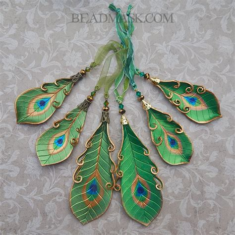 leather peacock feather holiday ornaments beadmask