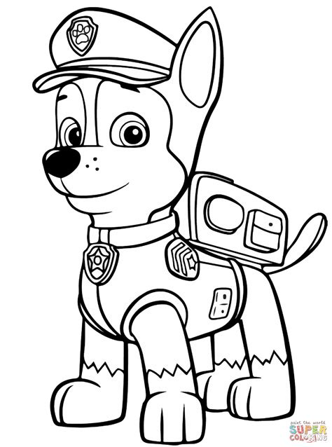 Coloring Page For Paw Patrol | paw patrol chase coloring page free printable coloring pages