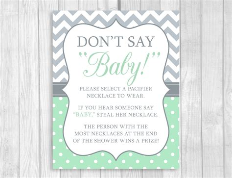 How Do You Say Baby Shower In by Printable Don T Say Baby 8x10 Clothes Pin Or