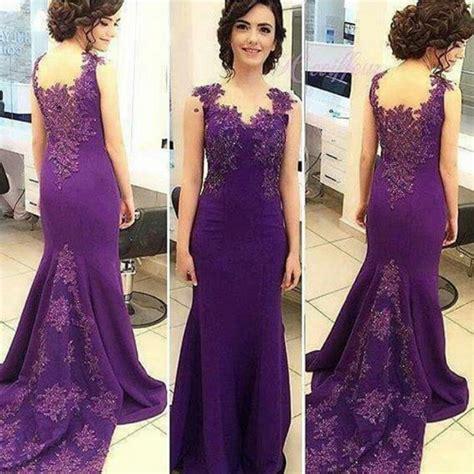 Dress Ly80 Lace Appliques Sleeveless Purple Mermaid Evening