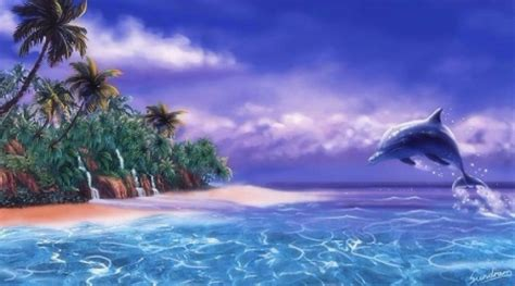 Dolphin Wall Mural tropical dolphin oceans amp nature background wallpapers