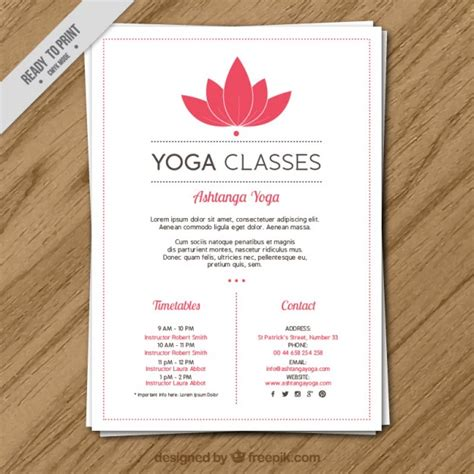 pink flower yoga classes with timetables flyer vector