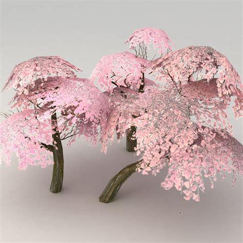cherry blossom tree 3d model free lowpoly tree set 3d model 6 obj max fbx free3d