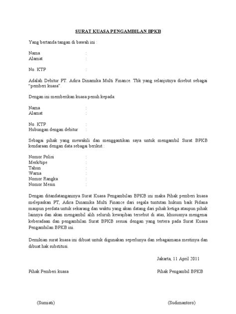format surat kuasa fif surat kuasa pengambilan bpkb