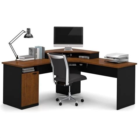 Corner Computer Desks Bestar Hton Wood Home Office Corner Computer Desk In Tuscany Brown 69430 4163