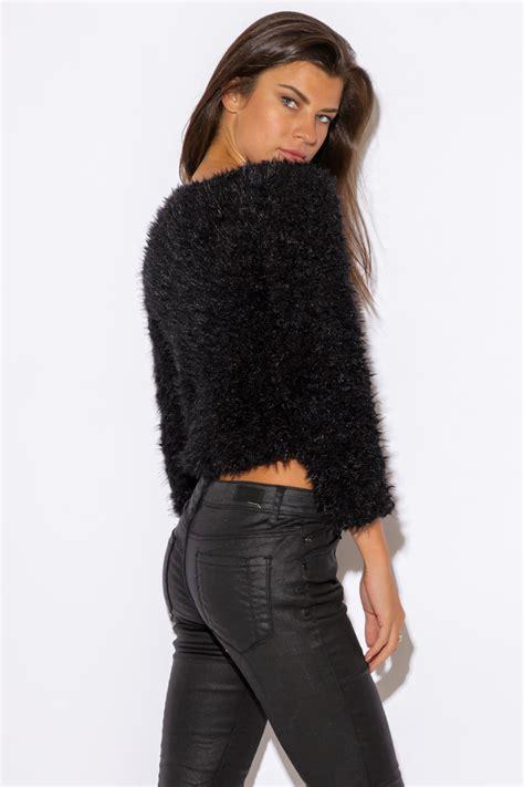 Jaket Sweater Cardigant black faux fur fuzzy cardigan modishonline