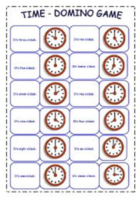 Printable Clock Dominoes | english worksheets the time worksheets page 12