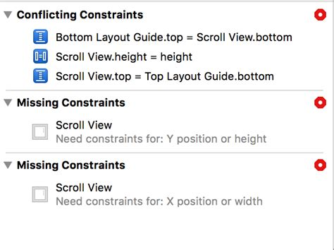 top layout guide constraint layout contradicting constraint issues in xcode 8