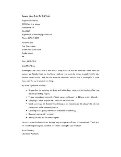 basic qa tester cover letter sles and templates