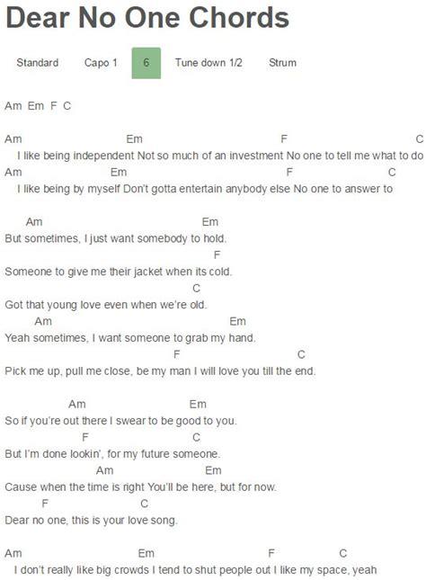 dear lyrics dear no one chords
