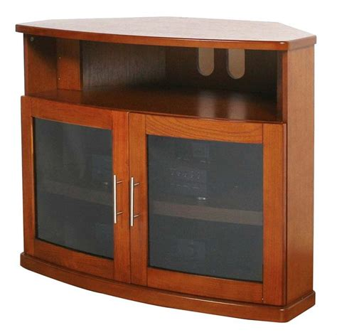 Glass Tv Cabinet With Doors Plateau Newport Series Corner Wood Tv Cabinet With Glass Doors For 26 42 Inch Screens Black Or