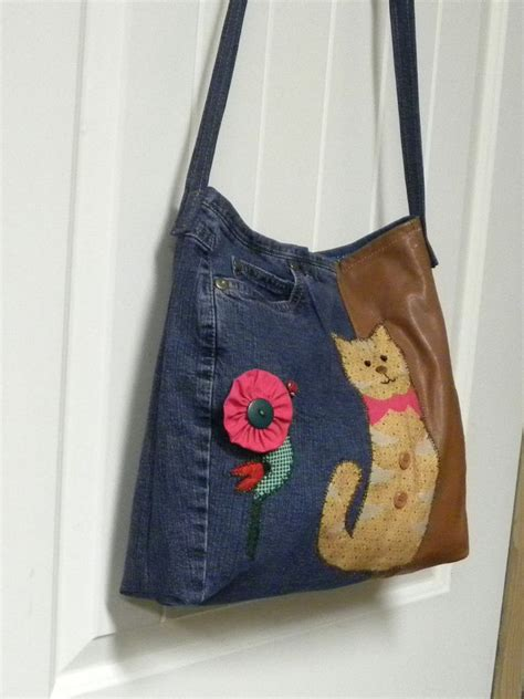 Handmade Denim Bags - clearance priced handmade cat denim and leather