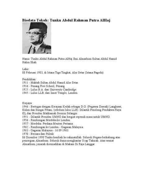 essay biography of tunku abdul rahman biodata tokoh tunku abdul rahman