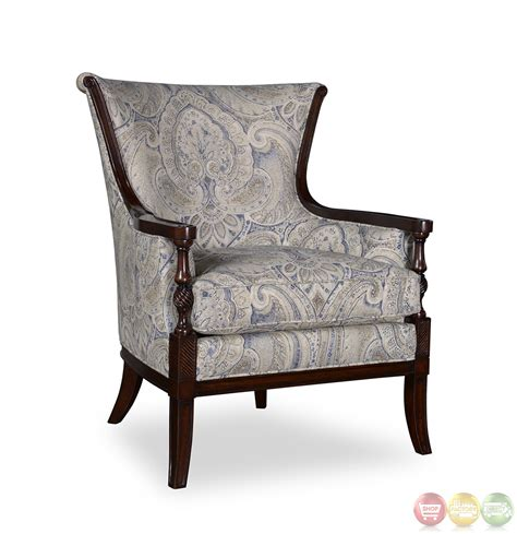 Wooden Accent Chair with Bristol Linen Transitional Carved Wood Accent Chair