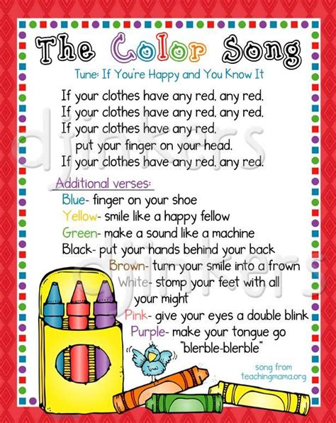 color song color song learning colors color border clip