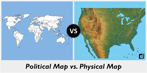 difference between political map and physical map