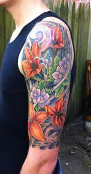 color sleeve tattoos flower sleeve front view by diego inspiration