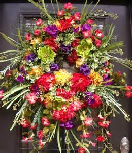 Summer Wreath For Front Door Front Door Wreaths Lush Summer Wreath Wreath By Luxewreaths