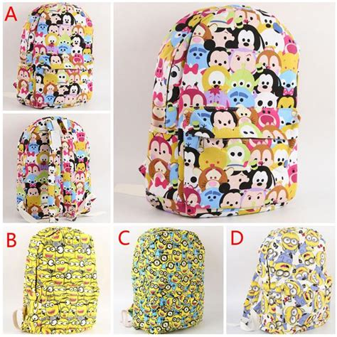 Tsum Casual tsum tsum backpack minnie mickey mouse printed canvas