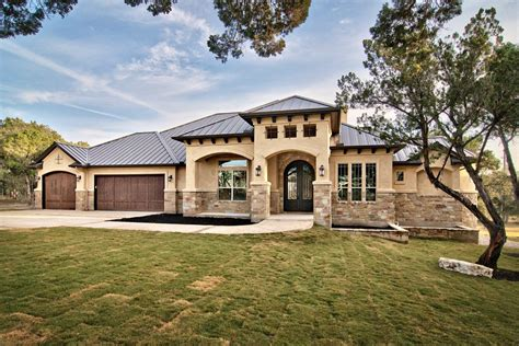 stucco stone front elevation exterior mediterranean with