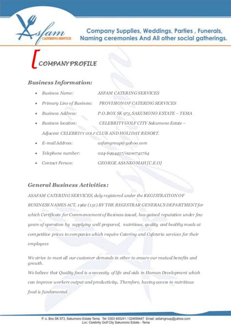 Sle Letter For Catering Business Asfam Catering Services Business